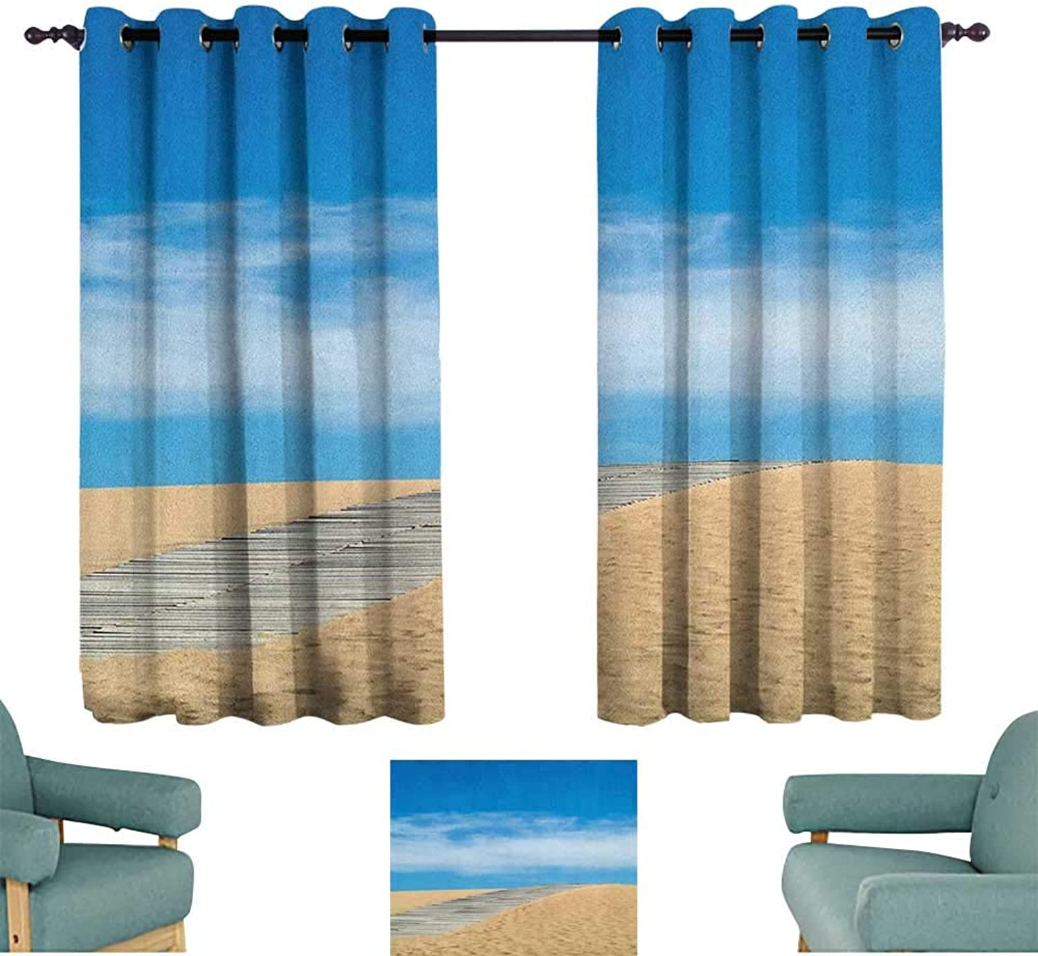 Beach,Kitchen Curtains Wooden Path Over a Sand Dune Secret Paradise Beach for Recreation and Clam Photo 42 X54  Picture Print Decor Curtains