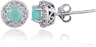 Sterling Silver Birthstone Colors Synthetic Emerald, Ruby or Sapphire & White Topaz Halo Stud Earrings