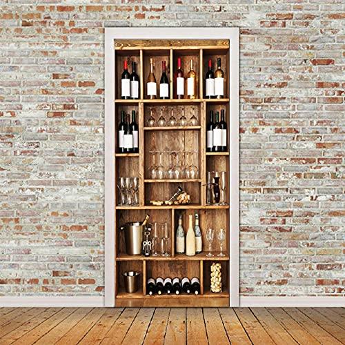 YQLKD Decoración para Puertas Etiquetas Engomadas De La Puerta del Estante del Vino Imagen De La Decoración del Hogar Papel Pintado Impermeable Autoadhesivo