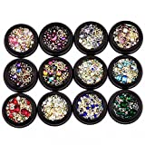 BlueZOO 12 Pack Mixed Nail Art Décor Accessories Decorations Rhinestones Diamonds Crystal...