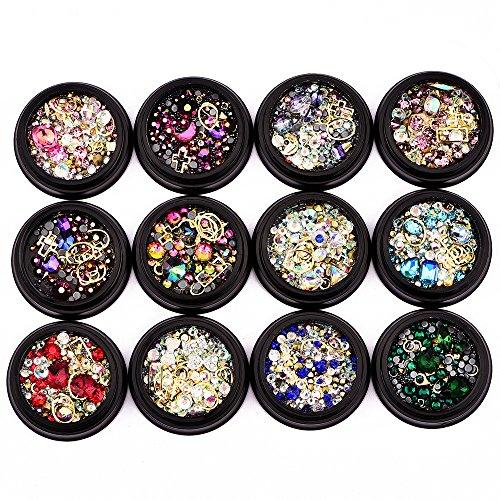 MUUZONING 12-teiliges Set, 3D Legierung Strass Steine für Nailart Dekorationen, Nail Perlen Glitter Kristalle Nagel Dekoration Großer Edelstein #183