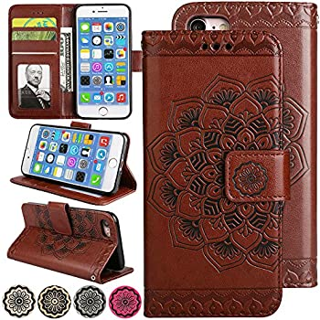 LOVEMILY Slim Wallet Kickstand for Video iPhone 6s Plus/iPhone 6 Plus Case Luxury Flip Magnetic Leather Back with Card Solts Holder Phone Cover for iPhone6 Plus and iPhone6s Plus Cases [5.5   Brown]