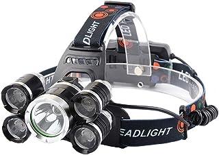 Waterproof LED Headlamp, Wewdigi 5 LED Bulbs 4 Mode-Hands Free Flashlight, headlight flashlights for Running Walking Camping Reading Hiking Riding Fishing( 2Pcs Batteries+AC Charger)