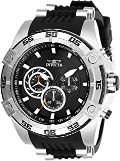 Men's Speedway Stainless Steel Quartz Watch with Silicone Strap, Black, 26 (Model: 28227)