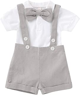 Baby Boys Gentleman Outfits Set Romper with Tie and Overalls Bib Pants Wedding Tuxedo Christmas Outfits