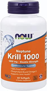 NOW Supplements, Neptune Krill, Double Strength 1000 mg, Phospholipid-Bound Omega-3, 60 Softgels