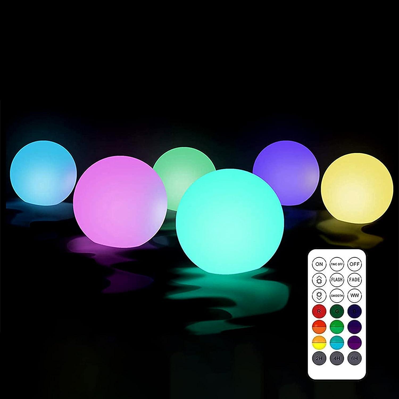 Luces flotantes para piscina, 6 unidades, IP68, impermeables, luz flotante para piscina, spa, jardín, luz nocturna, 8 cm (redondas)
