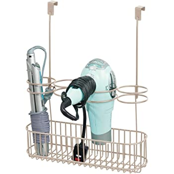 Organizer bagno perfetto per phon mDesign Porta phon da appendere piastra e accessori Porta asciugacapelli da agganciare alla porta argento