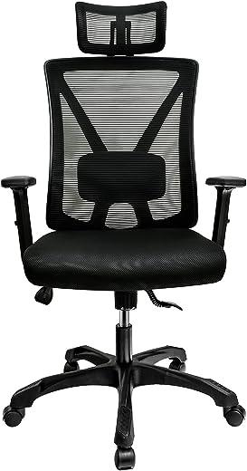Aiivsit Bürostuhl, Ergonomischer Schreibtischstuhl, einstellbare Kopfstütze, Lendenstütze und Armlehnen, Wippfunktion(bis 135°), atmungsaktiv,…