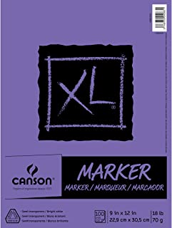 Canson XL Series Marker Paper Pad, Semi Translucent for Pen, Pencil or Marker, Fold Over, 18 Pound, 9 x 12 Inch, White, 10...