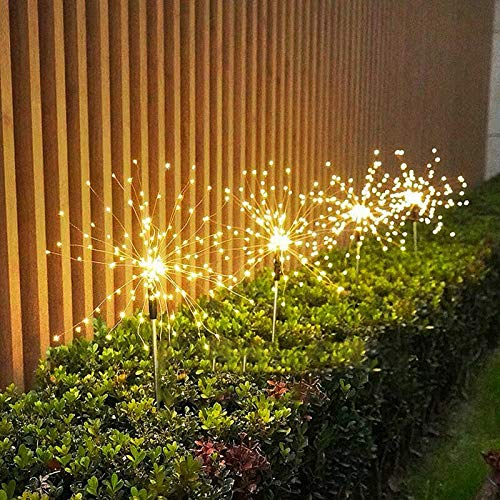 helegeSONG Solar LED Light Outdoor Garden Stake Lights Dandelion Artificial Trees Lights for Christmas Party Decor Wedding Birthday Night Lamp Warm White 150-LED