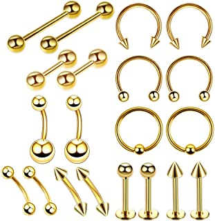 Prettyia 20Pcs 16G Stainless Steel Curved Eyebrow Ear Navel Belly Ring Lip Nose Ring Studs Hoop Nose Studs Piercing Jewelry Kit(10 Styles)