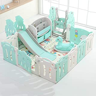 Hong Jie Yuan Child Guardrail Baby Playpen Playard Toddlers Play Yard with Door Activity Center Child Play Game Fence Baby Playground  Color Blue