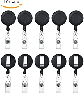 Retractable Badge, Black Matte Holder ID Badge Reel 24 Inch Retractable Cord with Belt Clip Key Ring for Name Card Keychain 10 Pcs