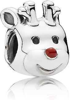 Pandora Sterling Silver Red-Nosed Reindeer Charms Red Enamel 791781EN39