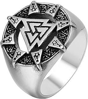 AJZYX Punk Rock Titanium Steel Skull Ring 卍 Buddhist Word Swastika Skeleton Ring Vintage Jewelry Band for Mens Boys Size 7-12