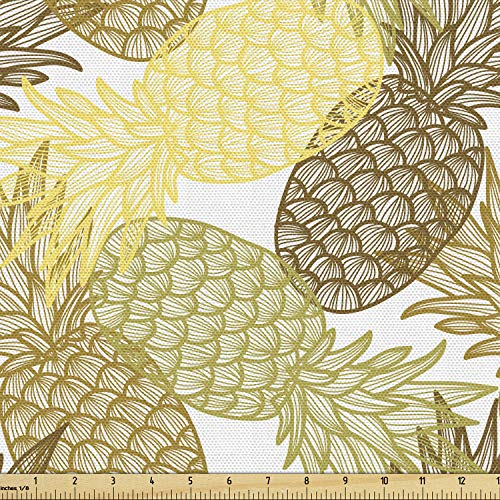 Ambesonne Pineapple Fabric by The Yard, Summer Themed Overlapping Curving Exotic Tropical Pineapples with Lines Print, Decorative Fabric for Upholstery and Home Accents, 2 Yards, Yellow Brown