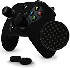 ParticleGrip Studded Skin Set for Xbox One (& One S) by Foamy Lizard – Patent Pending Silicone Skin Cover Antislip Studs Plus Matching Set of 4 AceShot Analog Thumbgrips (Black)