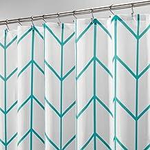mDesign Cortina de Ducha de poliéster – Accesorio de baño Moderno para la Ducha – Cortinas de baño con diseño de Espiga – Cortinas para el baño de 183 cm x 183 cm – Azul Verdoso/Blanco