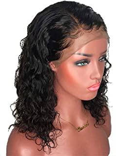 Black 18 Inch Curly Hair Wig for Women Natural Looking Lace Front Wig,Hairpieces (Color : Black)