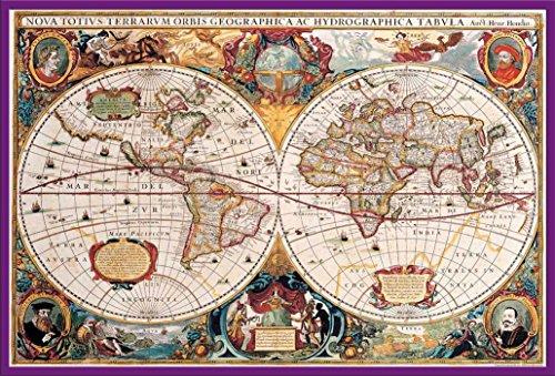 Cartes Poster Carte du monde antique + accessoires Kunststoff-Rahmen Lila