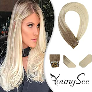 Youngsee Seamless Tape in Hair Extensions Balayage Medium Brown with Blonde Hair Extensions Remy Tape in Extensions 20pcs 50gram 22inch