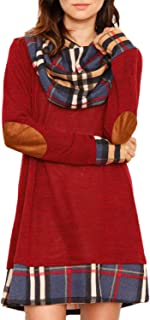Women Cowl Neck Tops Color Block Pullovers Elbow Patchs Plaid Long Tunic Blouse Dress S-XXL