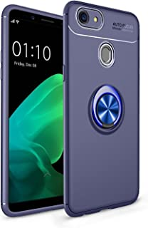 Happy-L Case for Oppo F5/F5 Youth/A73, Shockproof Anti-Scratch Drop Soft TPU Slim Protection Case with 360 Degree Rotating Finger Ring Holder (Color : Blue)