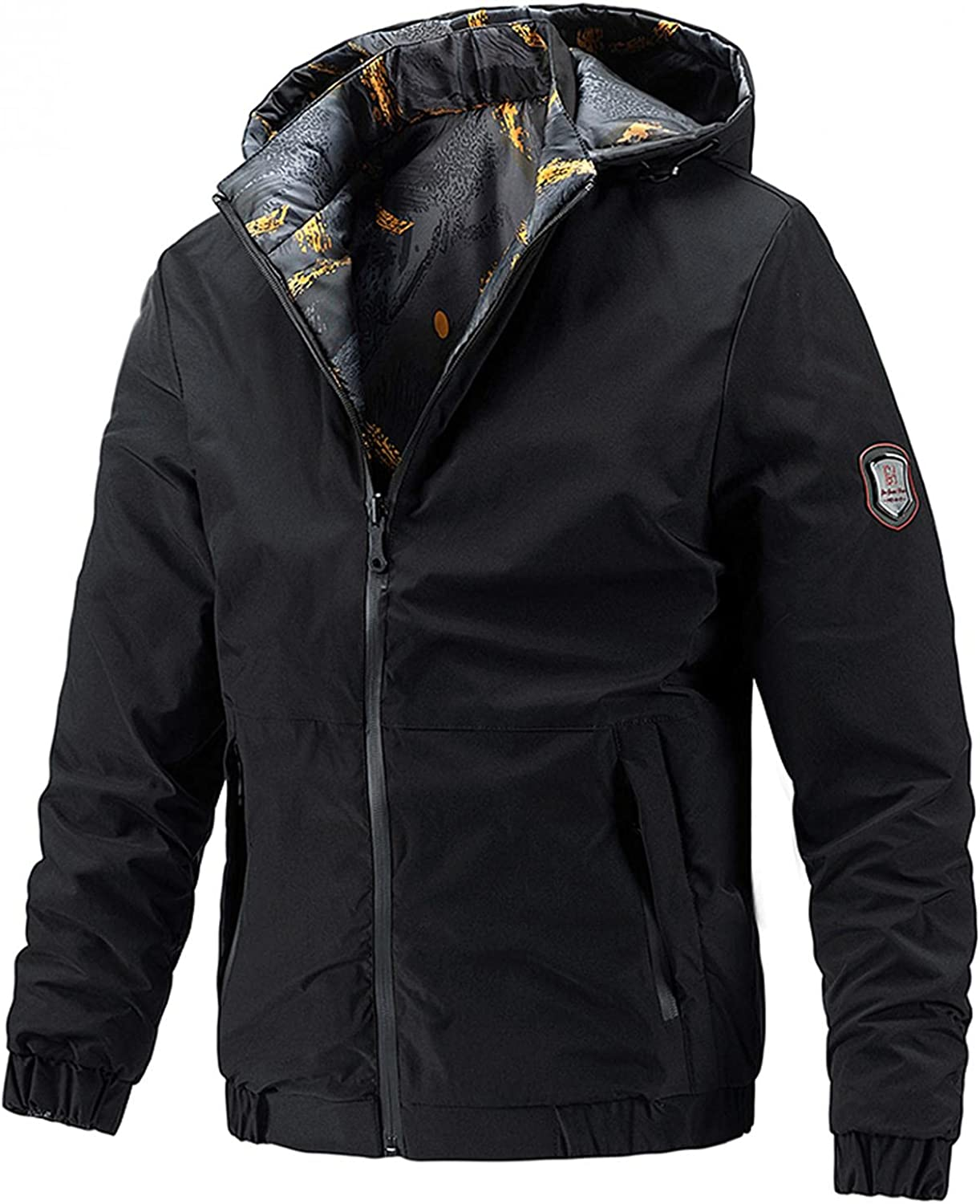 VEKDONE Men's Jackets Waterproof Ski Warm Snow Hooded Raincoat Casual Autumn and Winter Wear On Both Sides Pockets