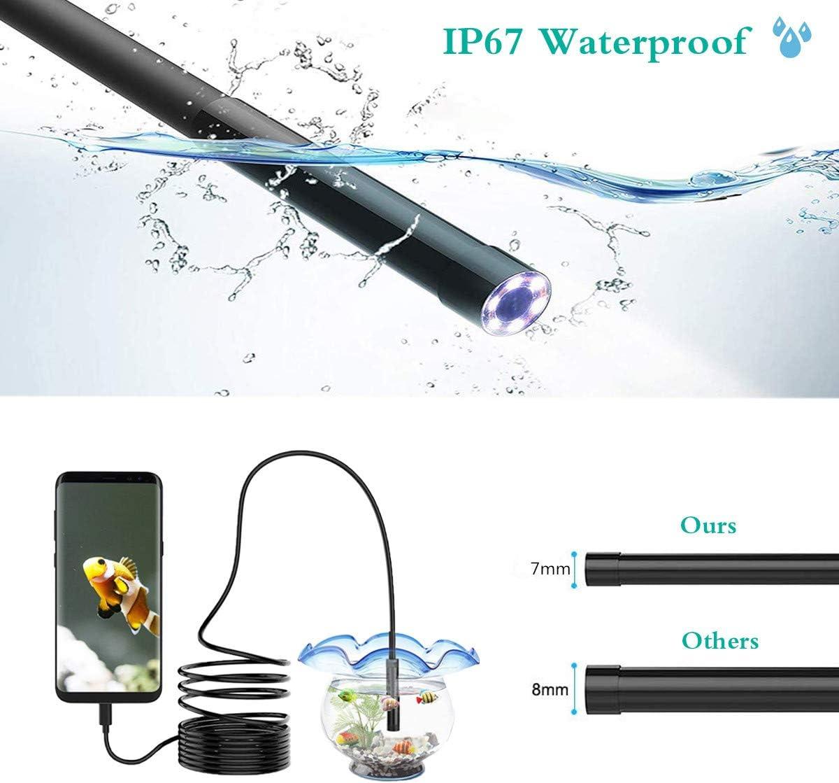 HKBTCH Endoscope USB Android cam/éra endoscopique 7 mm 720p HD zoom autofocus cam/éra dinspection avec 6 LED IP67 /étanche semi-rigide et c/âble serpent 5 m