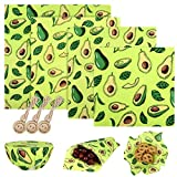 Paquete de 4 Envoltorios de Cera de Abeja, Papel de Cera de Abeja Alimentos Reutilizable Beeswax Food Wrap con 3 Cuerdas para Queso, Frutas, Verduras y Pan