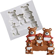 1PCS Cute Bear Family Cup Cake Decorating Mould for Soaps Candy Chocolate Gummies Clay Making Cake Molds Baking Molds Kitchen Accessories Tools