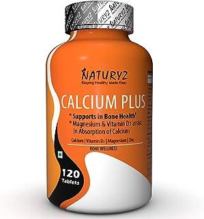 Naturyz Calcium Plus with Calcium Citrate, Vitamin D3 Magnesium and Zinc Ideal Supplement for Bone Health & Joint Support ...