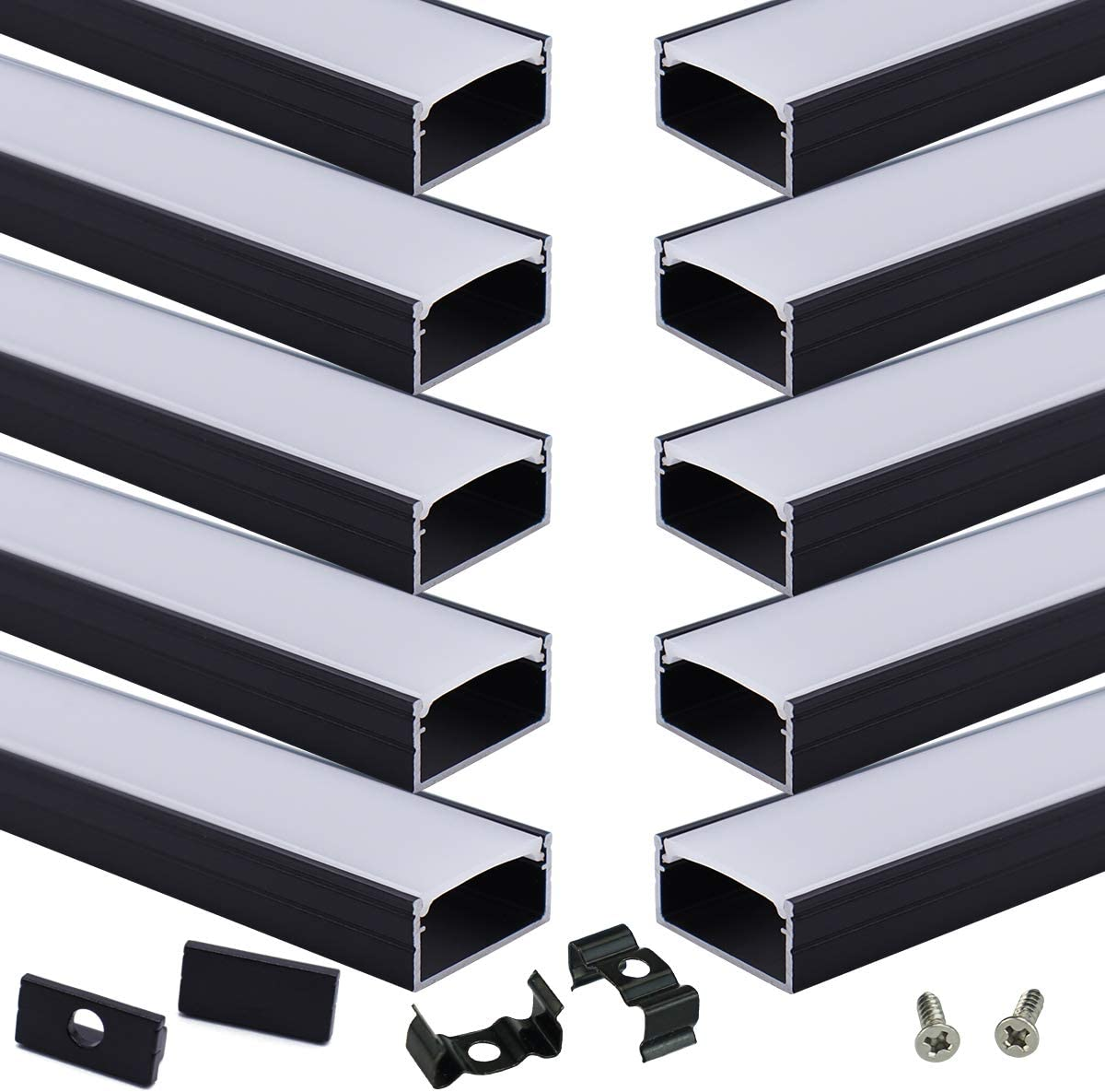 Muzata 10Pack 3.3FT 1M Black 1 year warranty LED White with Milky Channel System Mesa Mall