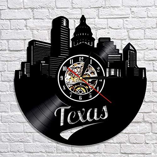 BFMBCHDJ Texas Skyline Vinyl Schallplatte Wanduhr Moderne Stadtbild dekorative Kunst Uhr Uhr mit bunten LED Nachtlicht Wanddekoration Keine LED 12 Zoll