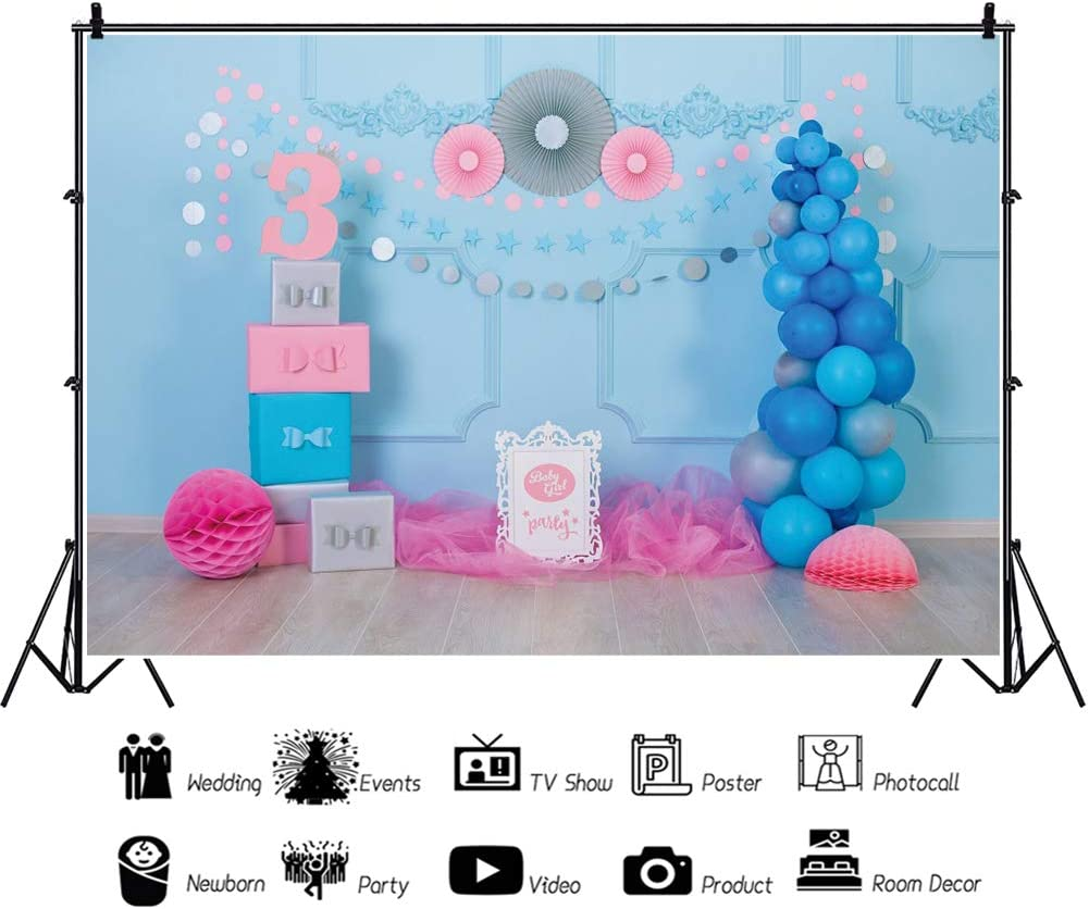 Leowefowa Baby 3rd Birthday Great interest Backdrop for 9x6ft Photography Blue Genuine