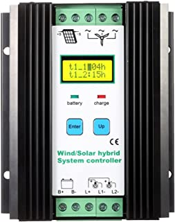 Ritioner Wind Solar Hybrid System Controller, LCD Economic PWM (600w Wind + 400w Solar) 12v/24v Automatic Identification Household Lighting Street Lamp Protection Battery Controller