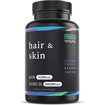Biotin 10000mcg with Organic Coconut Oil - Biotin Vitamins for Hair Skin and Nails for Women - Biotin for Men - Biotin for Hair Growth - 2 Month Supply