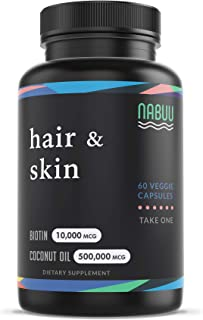 Biotin 10000mcg with Organic Coconut Oil - Biotin Vitamins for Hair Skin and Nails for Women - Biotin for Men - Biotin for...