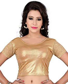 Fressia Fabrics Readymade Gold Stretchable Saree Blouses Women's