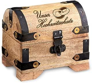 Casa Vivente Kleine Schatztruhe mit Gravur aus hellem Holz, Unser Hochzeitsschatz, Motiv Ringe, Schmuckkästchen oder Spardose, Hochzeitsgeschenk
