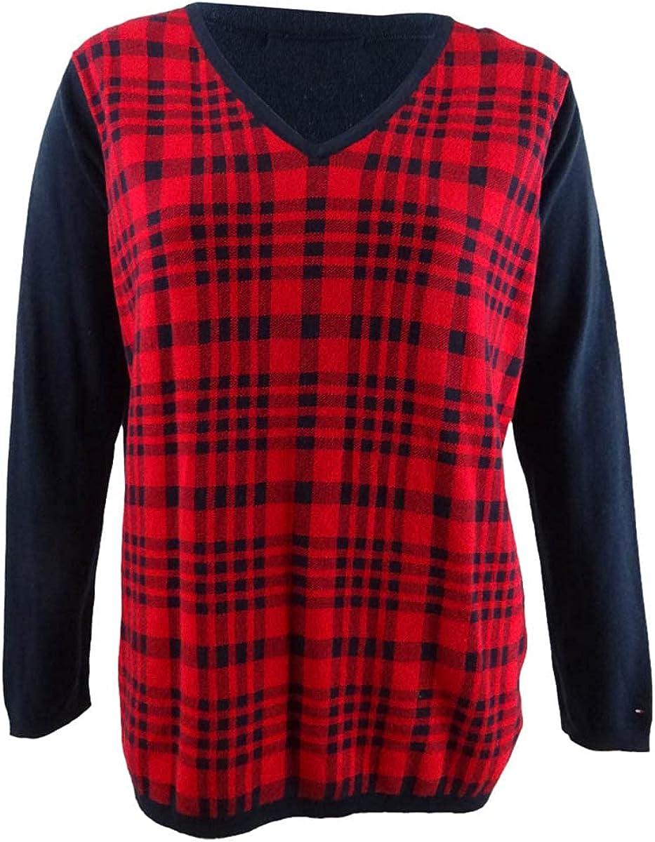 Tommy Hilfiger Womens Plaid Knit Sweater