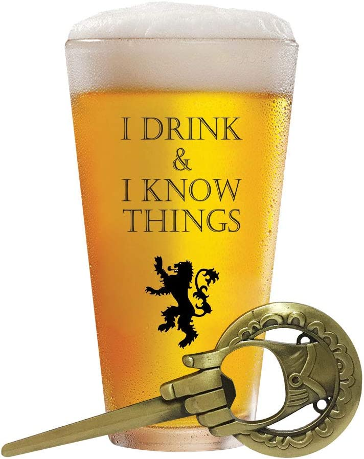 """""""I Drink and I Know Things"""" Beer Glass + Free """"Hand Of The King"""" Bottle Opener"""