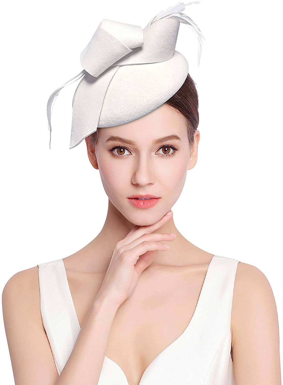 Z&X Wool Felt Fascinator Winter Women Elegant Pillbox Hat Bowknot Kentucky Derby Church Hat Retro Fedoras