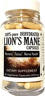 Canopy Oaks Farm – Lion's Mane Mushroom Capsules, 100% Dehydrated Fruiting Bodies, Natural Supplement for Memory, Focus, and Nerve Health, Vegan, Gluten-Free, Made in USA, 60 Count