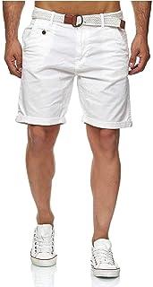 Conor - Pantalones cortos chinos para hombre, con cinturón, 100% algodón, bermudas de corte regular