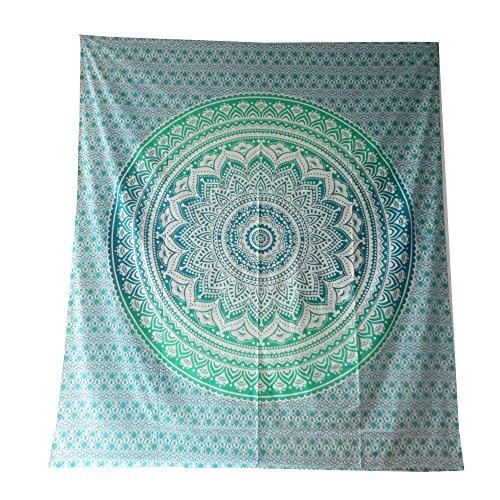 Tagesdecke Mandala Flower grün blau Baumwolle indische Decke Wandbehang Überwurf