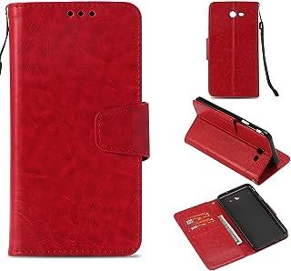 Galaxy J7 V Case/Galaxy J7 Perx Case / J7 Sky Pro / J7 Prime/Galaxy Halo/ J7 2017 Case, Voanice PU Leather Kickstand Wallet with Card Slots Holder Flip Cover for Samsung Galaxy J7 2017 & Stylus-Red