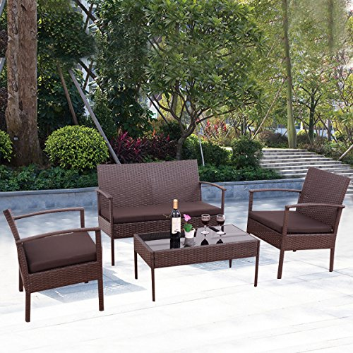4PC Conversation Set urniture Rattan Garden Beach atio And Poolside. 1 Rectangle Tempered Glass Top Coffee Table +1 Loveseat +2 Single Sofa +3 Cushions. Color: Chocolate Brown