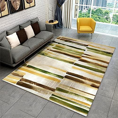 Dormitorio Alfombra de salón marrón Verde Pelo Corto sin Pelo y Resistente...